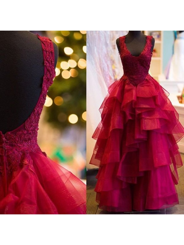 Lively Identity Ball Gown Applique V-Neck Floor-Length Tulle Dresses
