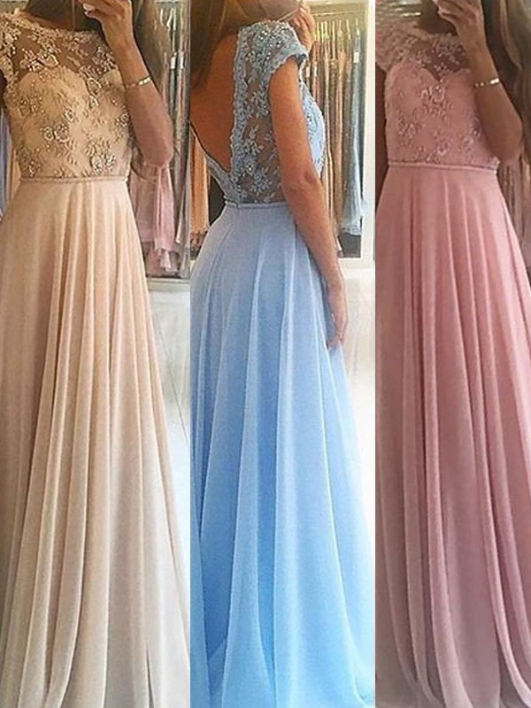 Just My Style Princess Style Scoop Floor-Length Beading Chiffon Dresses