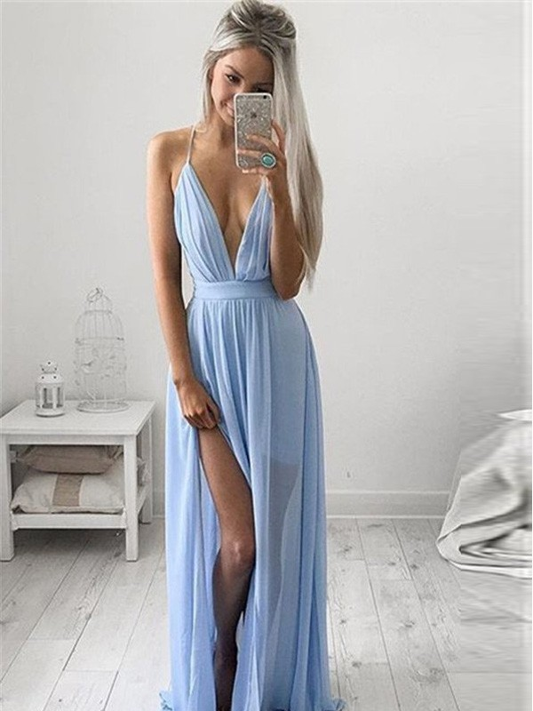 Fresh Picks Princess Style Spaghetti Straps Chiffon Ruched Floor-Length Dresses