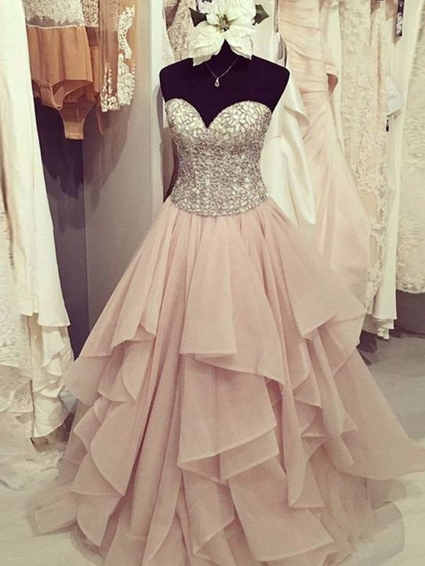Easily Adored Ball Gown Sweetheart Floor-Length Beading Chiffon Dresses