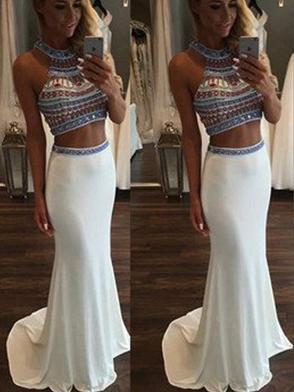 Beautiful You Mermaid Style Halter Beading Sweep/Brush Train Spandex Two Piece Dresses
