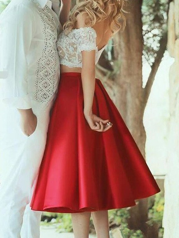 Pretty Looks Princess Style Off-the-Shoulder Satin Lace Knee-Length Two Piece Dresses
