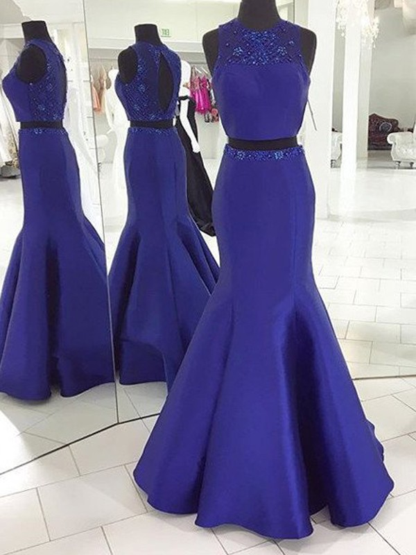 Confident Option Mermaid Style Scoop Floor-Length Beading Satin Two Piece Dresses