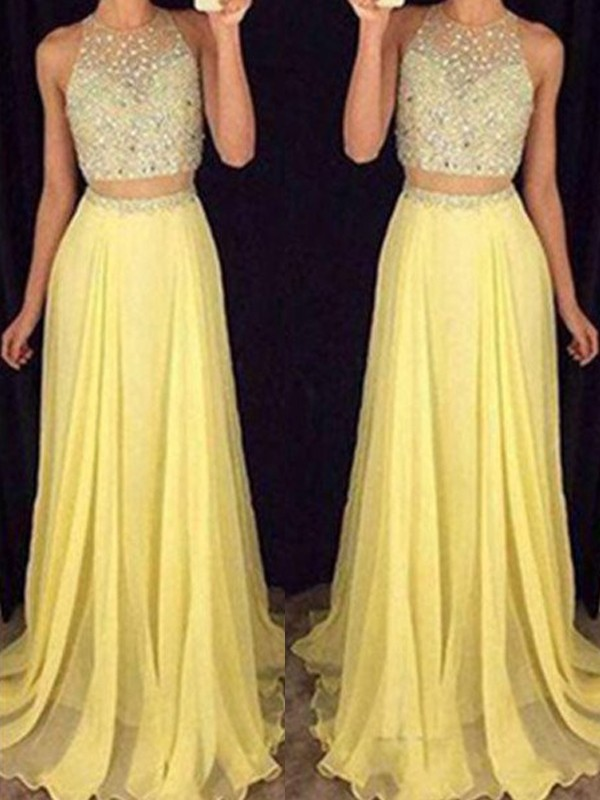 Cheerful Spirit Princess Style Scoop Beading Chiffon Two Piece Dresses