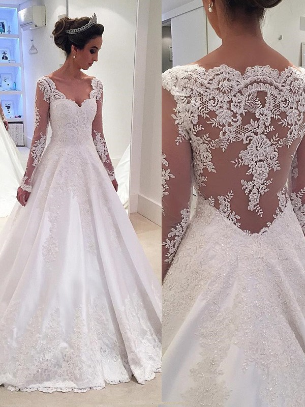 Embracing Grace Ball Gown V-neck Lace Court Train Satin Wedding Dresses