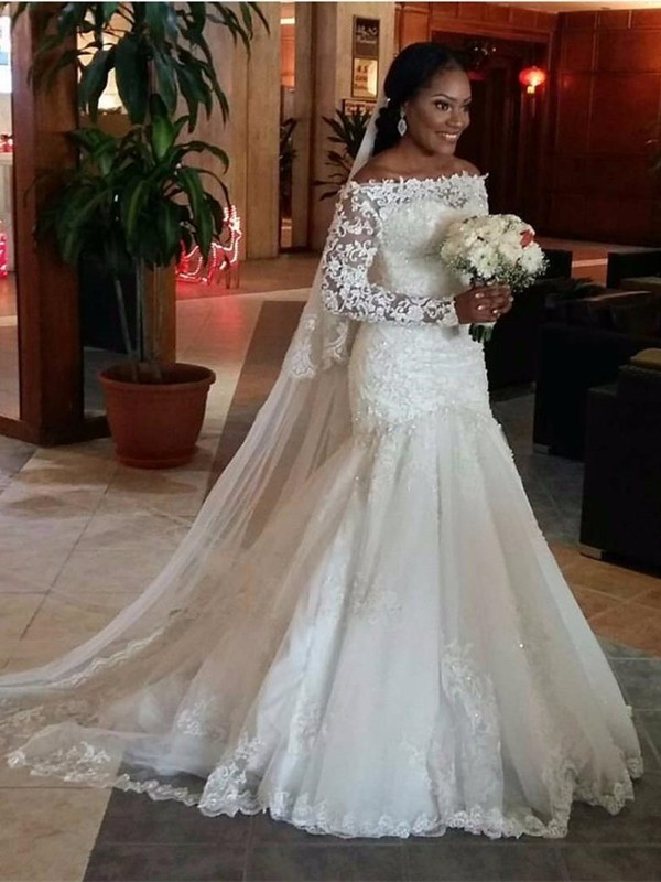 Treasured Reveries Mermaid Style Off-the-Shoulder Lace Sweep/Brush Train Tulle Wedding Dresses