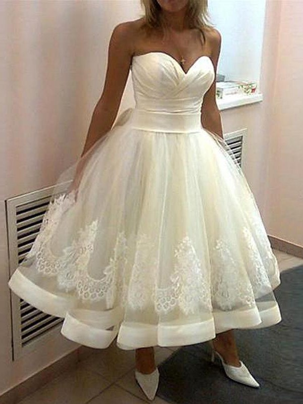 First Impressions Ball Gown Applique Sweetheart Tulle Tea-Length Wedding Dresses