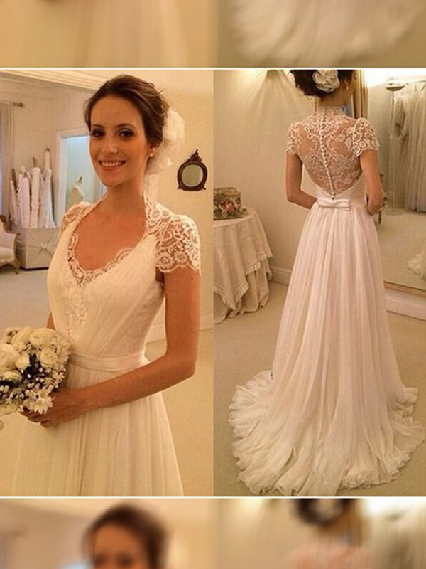 Too Much Fun Princess Style V-neck Sweep/Brush Train Lace Chiffon Wedding Dresses