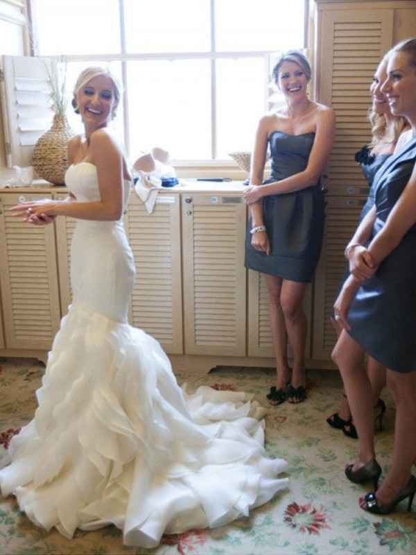 Yours Truly Mermaid Style Court Train Sweetheart Ruffles Satin Wedding Dresses