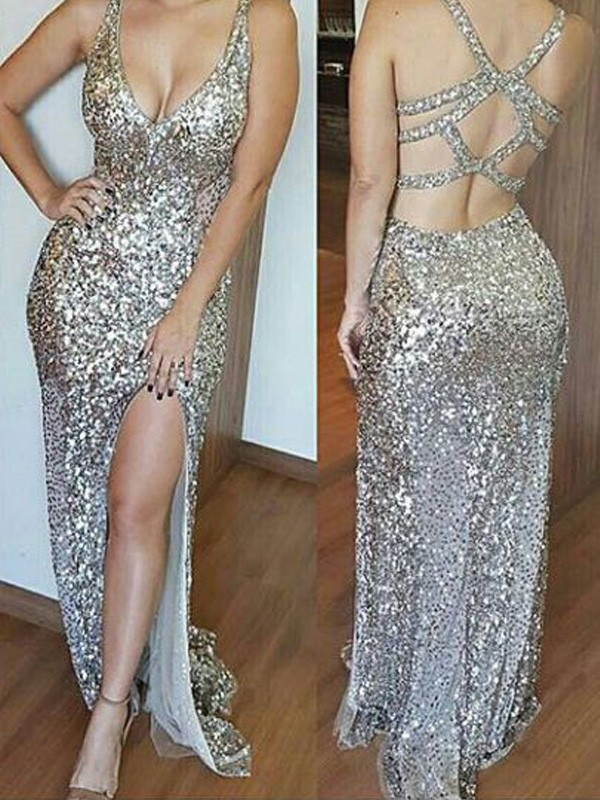 Yours Truly Sheath Style V-neck Sweep/Brush Train Sequins Dresses