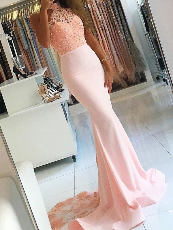 Naturally Chic Mermaid Style High Neck Lace Sweep/Brush Train Satin Dresses