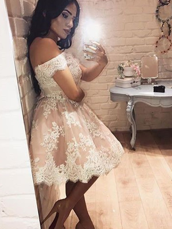 Too Much Fun Princess Style Off-the-Shoulder Lace Short/Mini Dresses