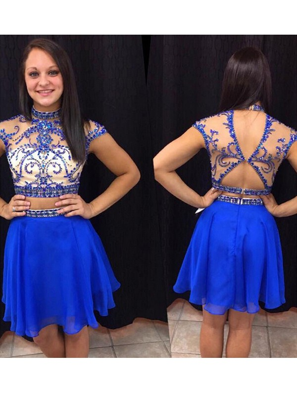 Dancing Queen Princess Style High Neck Beading Chiffon Short/Mini Two Piece Dresses