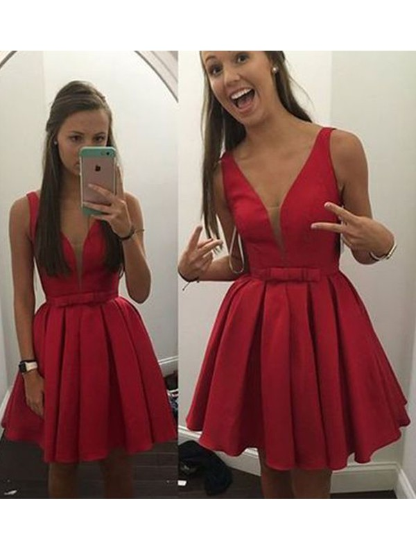 Naturally Chic Princess Style V-neck Bowknot Satin Short/Mini Dresses
