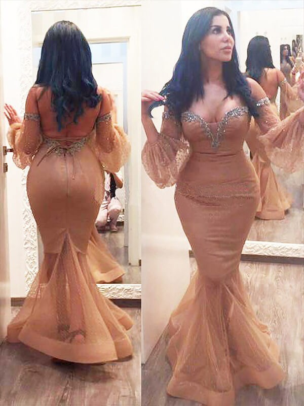 Eye-Catching Charm Mermaid Style Silk like Satin Off-the-shoulder Beading Floor-Length Plus Size Dresses