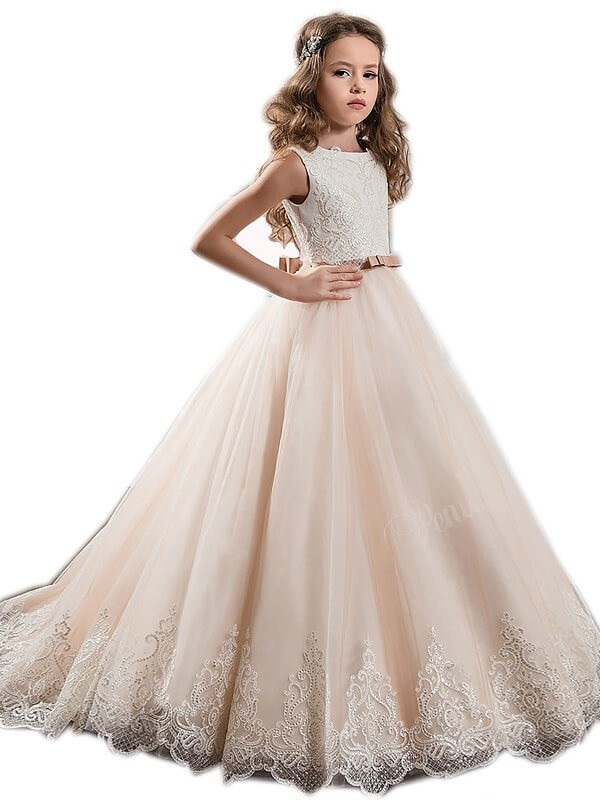 Just My Style Ball Gown Jewel Lace Sweep/Brush Train Tulle Flower Girl Dresses
