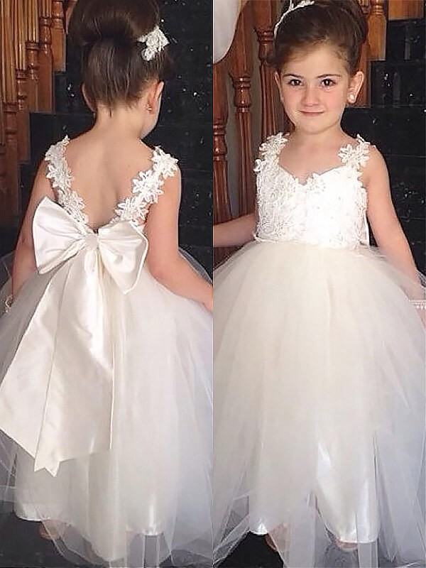 Time to Shine Ball Gown Sweetheart Bowknot Floor-Length Tulle Flower Girl Dresses