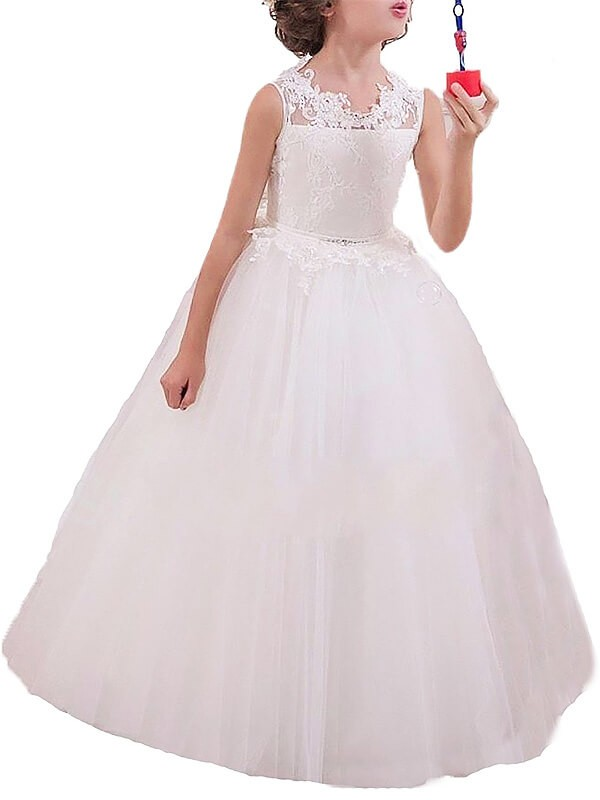 Limitless Looks Ball Gown Jewel Applique Floor-Length Tulle Flower Girl Dresses