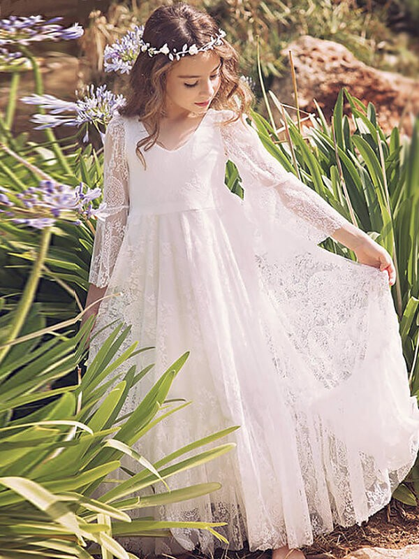 Fabulous Fit Princess Style V-neck Lace Floor-Length Flower Girl Dresses