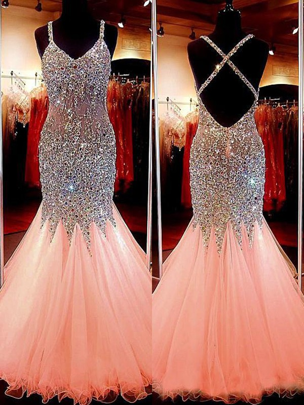 Stylish Refresh Mermaid Style V-neck Tulle With Sequin Floor-Length Dresses