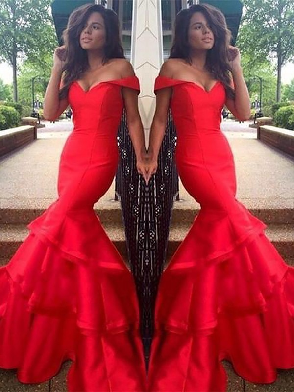 Romantic Vibes Mermaid Style Off-the-Shoulder Taffeta With Layers Sweep/Brush Train Dresses