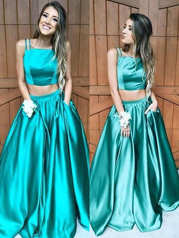 Savor the Occasion Princess Style Square Floor-Length With Ruffles Satin Two Piece Dresses