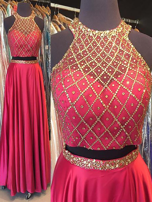 Comfortably Chic Princess Style Halter Elastic Woven Satin With Beading Floor-Length Two Piece Dresses