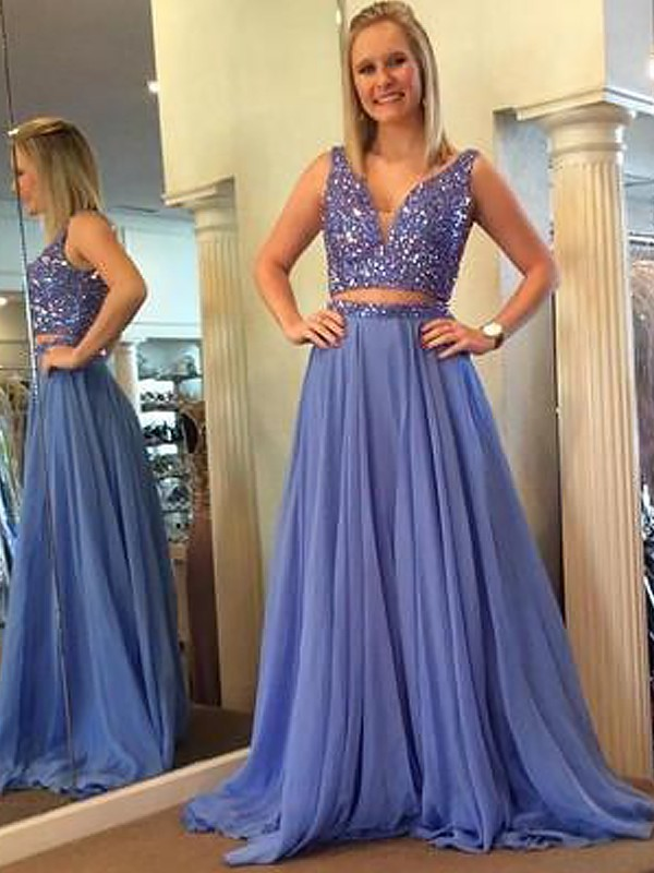 Pretty Looks Princess Style V-neck Chiffon With Beading Floor-Length Two Piece Dresses