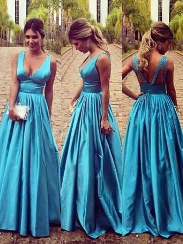 Pleased to be Me Princess Style V-neck Elastic Woven Satin With Ruched Floor-Length Dresses