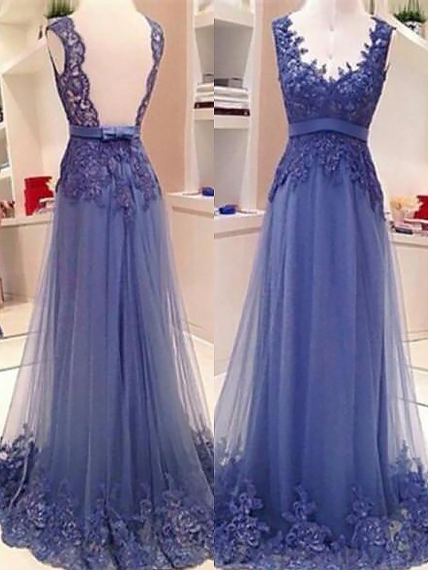 Confident Option Princess Style V-neck Tulle With Applique Floor-Length Dresses
