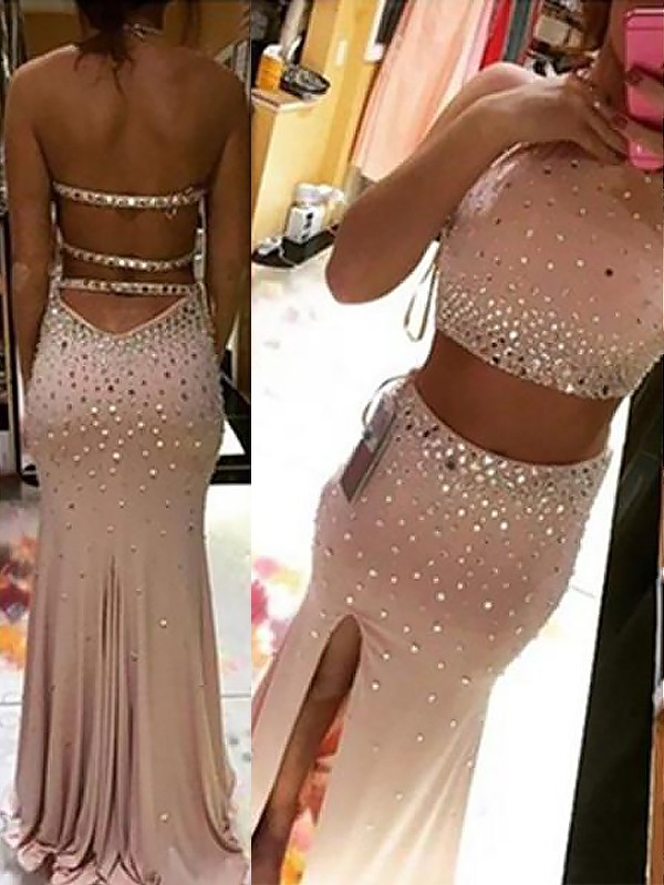 Vibrant Stylist Sheath Style Halter With Beading Sweep/Brush Train Spandex Two Piece Dresses