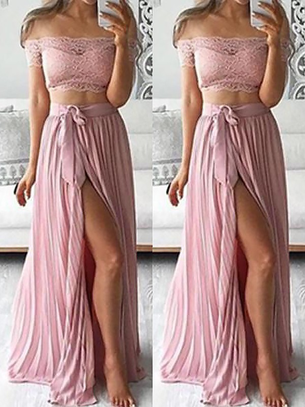 Embracing Grace Princess Style Off-the-Shoulder Chiffon Floor-Length With Lace Two Piece Dresses