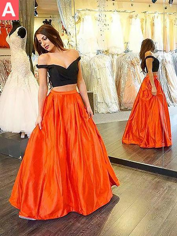 Glitz the Spot Princess Style Off-the-Shoulder Taffeta Floor-Length With Ruffles Two Piece Dresses