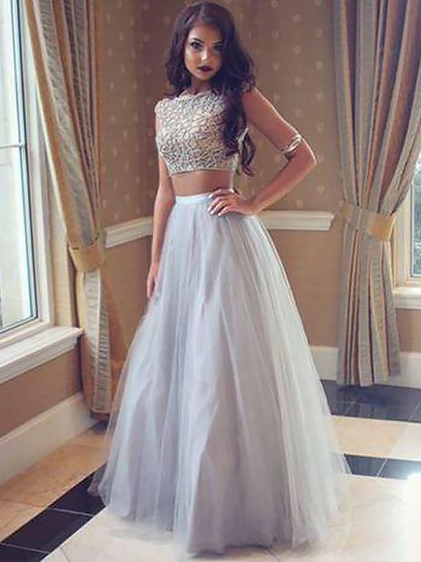 Eye-Catching Charm Princess Style Bateau Tulle Floor-Length With Beading Two Piece Dresses