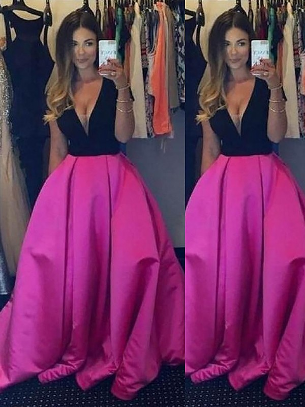 Desired Spotlight Ball Gown V-neck With Ruffles Floor-Length Satin Dresses