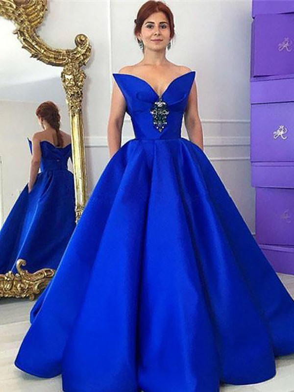 Automatic Classic Ball Gown V-neck With Ruffles Floor-Length Satin Dresses