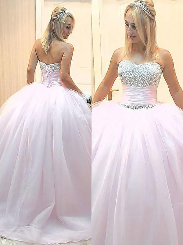 First Impressions Ball Gown Sweetheart With Beading Floor-Length Tulle Dresses
