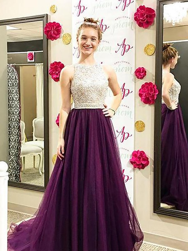 Befits Your Brilliance Princess Style Bateau Sweep/Brush Train With Beading Tulle Dresses