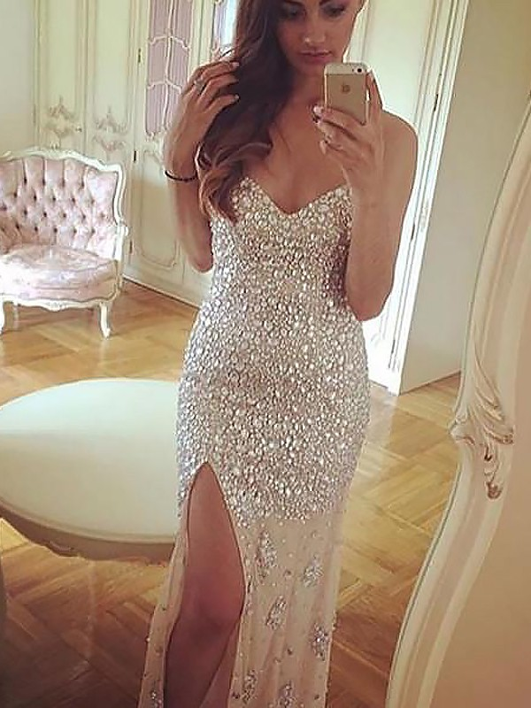 Glitz the Spot Sheath Style Sweetheart With Beading Sweep/Brush Train Chiffon Dresses