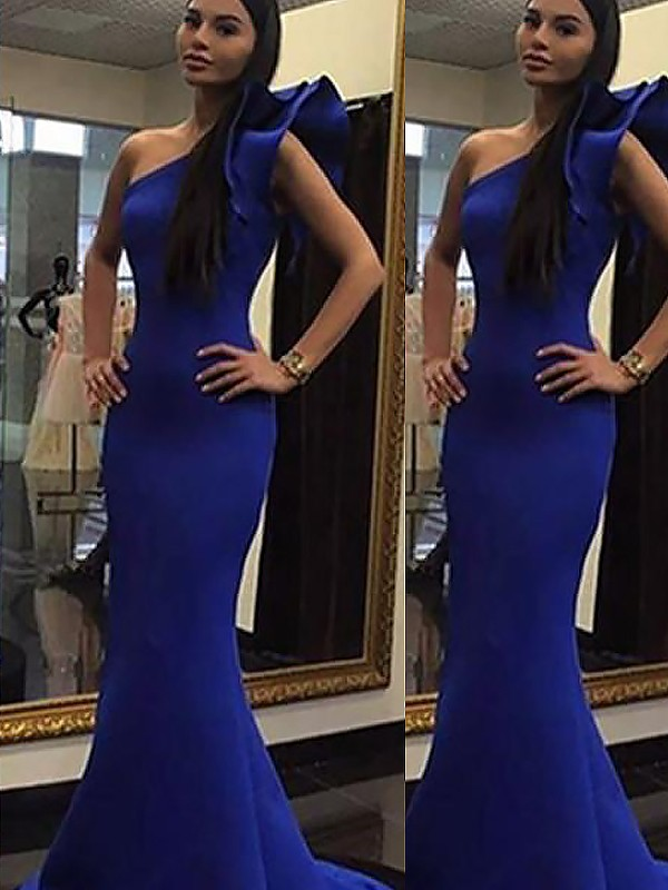 Limitless Looks Mermaid Style One-Shoulder With Ruffles Sweep/Brush Train Satin Dresses