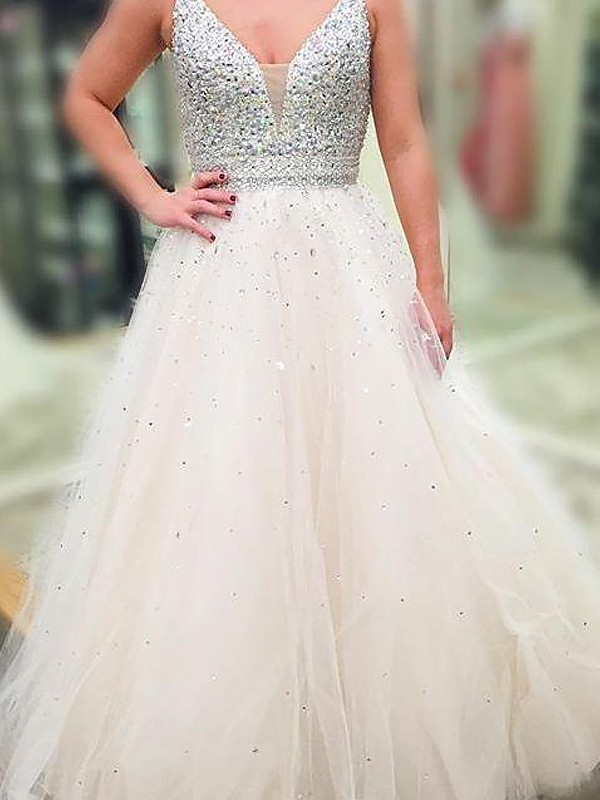 Voiced Vivacity Princess Style V-neck Floor-Length With Beading Tulle Dresses
