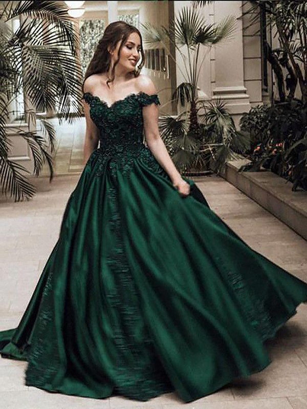 First Impressions Ball Gown Off-the-Shoulder Floor-Length With Lace Satin Dresses