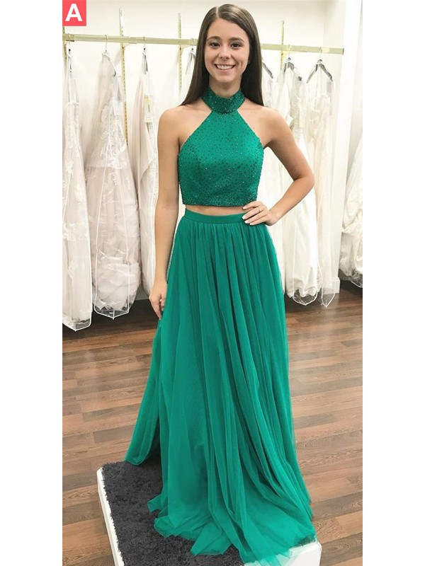 Pleased to be Me Princess Style Halter Floor-Length With Beading Tulle Two Piece Dresses
