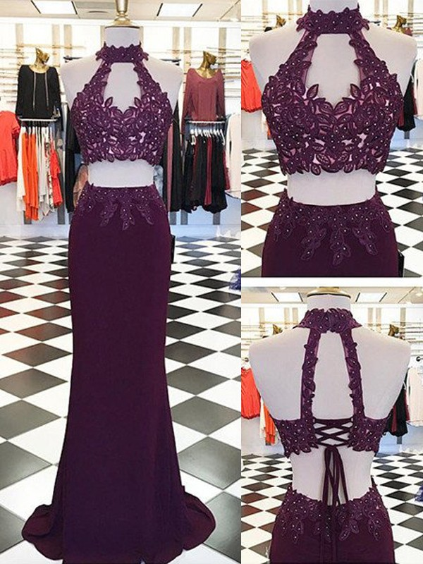 Touch of Texture Sheath Style Halter Applique Floor-Length Spandex Two Piece Dresses