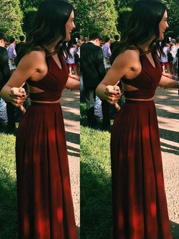 Yours Truly Princess Style Halter Chiffon Floor-Length Two Piece Dresses