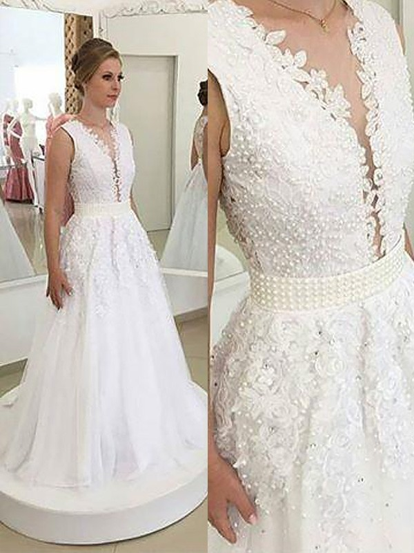 Defined Shine Princess Style V-neck With Applique Sweep/Brush Train Tulle Wedding Dresses