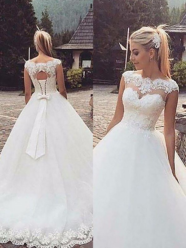Naturally Chic Ball Gown Bateau Lace Tulle Court Train Wedding Dresses