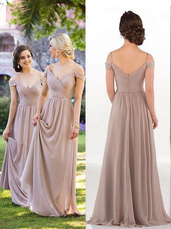 Glitz the Spot Princess Style Spaghetti Straps Floor-Length Chiffon Bridesmaid Dresses