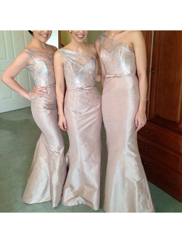 Pleasant Emphasis Mermaid Style One-Shoulder Satin Floor-Length Bridesmaid Dresses