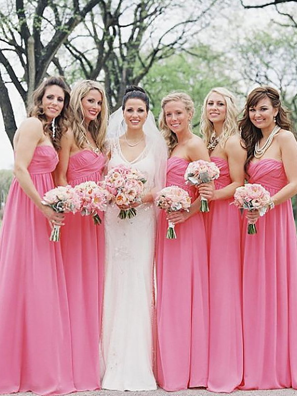 Time to Shine Princess Style Sweetheart Chiffon Floor-Length Bridesmaid Dresses